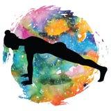 Women silhouette. High plank yoga pose. Uttihita Chaturanga Dandasana. Women silhouette on galaxy astral background. High plank yoga pose. Uttihita Chaturanga Royalty Free Stock Image