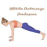 Women silhouette. High plank yoga pose. Uttihita Chaturanga Dandasana. Royalty Free Stock Image