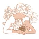 Women silhouette. Little Thunderbolt yoga pose. Laghu Vajrasana Royalty Free Stock Image