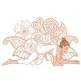Women silhouette. Lizard yoga pose. Utthan Pristhasana Royalty Free Stock Images