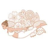 Women silhouette. Locust yoga pose. Salabhasana Stock Image