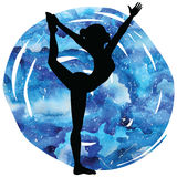 Women silhouette. Lord of the dance yoga pose. Natarajasana Stock Photography