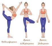 Women silhouette. Lord of the dance yoga pose. Natarajasana.  mountain . Tadasana. tree . Vrikshasana Stock Images