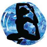 Women silhouette. Mermaid yoga pose. Eka pada raja kapotasana. Stock Images