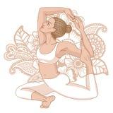 Women silhouette. Mermaid yoga pose. Eka pada raja kapotasana. Royalty Free Stock Photography