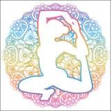 Women silhouette. Mermaid yoga pose. Eka pada raja kapotasana. Royalty Free Stock Image