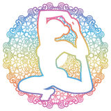 Women silhouette. Mermaid yoga pose. Eka pada raja kapotasana. Stock Image