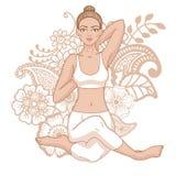 Women silhouette. Mermaid yoga pose. Eka pada raja kapotasana. Royalty Free Stock Images