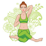 Women silhouette. Mermaid yoga pose. Eka pada raja kapotasana. Stock Photography