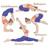 Women silhouette. Monkey yoga pose. Hanumanasana. Child s yoga pose. Balasana. Scorpion. Vrischikasana. Crane yoga pose. Bakasana Vector illustration Stock Photos