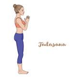 Women silhouette. Mountain yoga pose. Tadasana. Vector illustration Stock Images