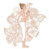 Women silhouette. Mountain yoga pose. Tadasana Stock Photos