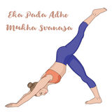 Women silhouette. One legged downward facing dog Yoga Pose. Eka Pada Adho Mukha Svanasa Stock Photos