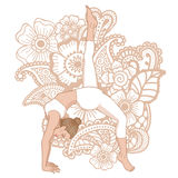 Women silhouette. One legged downward facing dog Yoga Pose. Eka Pada Adho Mukha Svanasa Royalty Free Stock Photography