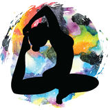 Women silhouette. One-legged king Pigeon yoga pose. Eka pada rajakapotasana. Stock Photos