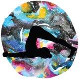 Women silhouette. Plow Yoga Pose. Halasana Stock Photo