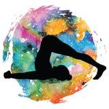 Women silhouette. Plow Yoga Pose. Halasana Stock Photography