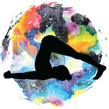 Women silhouette. Plow Yoga Pose. Halasana Stock Images
