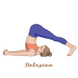 Women silhouette. Plow Yoga Pose. Halasana Royalty Free Stock Photo