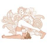 Women silhouette. Plow Yoga Pose. Halasana Royalty Free Stock Image