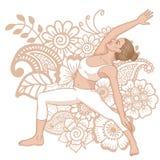 Women silhouette. Reserved warrior yoga pose. Viparita Virabhadrasana Stock Photography