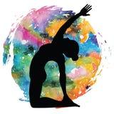 Women silhouette. Revolved Camel Yoga Pose. Parivrtta Ustrasana Stock Images