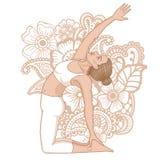 Women silhouette. Revolved Camel Yoga Pose. Parivrtta Ustrasana Royalty Free Stock Photos