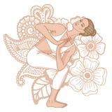 Women silhouette. Revolved Chair Yoga Pose. Parivrtta Utkatasana Stock Images