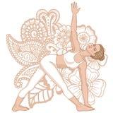 Women Silhouette. Revolved Triangle Yoga Pose. Parivrtta Trikonasana Royalty Free Stock Photos
