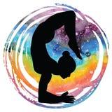 Women silhouette. Scorpion yoga pose. Vrischikasana. Women silhouette on galaxy astral background.Scorpion yoga pose. Vrischikasana. Vector illustration Royalty Free Stock Photo