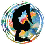 Women silhouette. Scorpion yoga pose. Vrischikasana. Women silhouette on galaxy astral background.Scorpion yoga pose. Vrischikasana. Vector illustration Royalty Free Stock Images