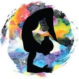 Women silhouette. Scorpion yoga pose. Vrischikasana. Women silhouette on galaxy astral background.Scorpion yoga pose. Vrischikasana. Vector illustration Stock Photo