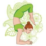 Women silhouette. Scorpion yoga pose. Vrischikasana. Women silhouette on paisley mehndi ormanent background. Scorpion yoga pose. Vrischikasana. Vector Stock Photo