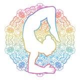 Women silhouette. Scorpion yoga pose. Vrischikasana. Vector illustration Stock Images