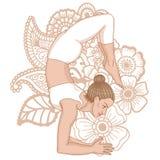Women silhouette. Scorpion yoga pose. Vrischikasana. Women silhouette on paisley mehndi ormanent background. Scorpion yoga pose. Vrischikasana. Vector Royalty Free Stock Photos