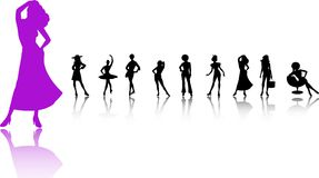 Women Silhouette set. A set of women dancing standig and sitting illustrated in a silhouetted way Royalty Free Stock Photo