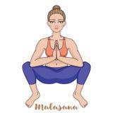 Women silhouette. Squat Yoga Pose. Malasana. Vector illustration Stock Photography