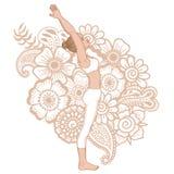 Women silhouette. Standing backbend yoga pose. Ardha Anuvittasana Stock Images