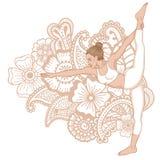 Women silhouette. Standing Bow Pulling yoga pose. Dandayamana Dhanurasana Stock Image