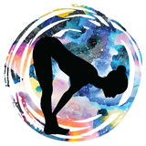 Women silhouette. Standing half forward bend yoga pose. Ardha uttanasana Royalty Free Stock Images