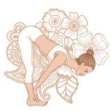 Women silhouette. Standing half forward bend yoga pose. Ardha uttanasana Stock Images