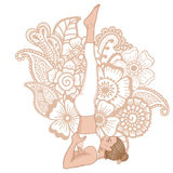 Women silhouette. Supported shoulderstand yoga pose. Salamba Sarvangasana Royalty Free Stock Photo