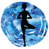 Women silhouette. Tree yoga pose. Vrikshasana. Royalty Free Stock Image
