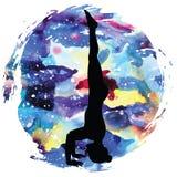 Women silhouette. Tripod Headstand yoga pose. Sirsasana 2 Stock Photos