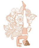 Women silhouette. Tripod Headstand yoga pose. Sirsasana 2 Royalty Free Stock Photography
