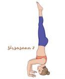Women silhouette. Tripod Headstand yoga pose. Sirsasana 2 Stock Image