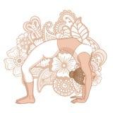 Women silhouette. Upward bow wheel yoga pose. Urdhva dhanurasana Royalty Free Stock Image