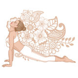 Women silhouette. Upward dog facing yoga pose. Urdhva mukha svanasana. Stock Image