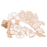 Women silhouette. Upward Plank Pose. Purvottanasana. Women silhouette. Upward Plank Pose. Purvottanasana Vector illustration Royalty Free Stock Photo
