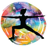 Women silhouette. Warrior 2 yoga pose. Virabhadrasana 2. Women silhouette on galaxy astral background. Warrior 2 yoga pose. Virabhadrasana 2. Vector illustration Royalty Free Stock Images